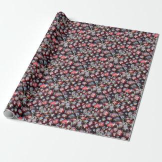 Papier Cadeau Cerises noires de perle