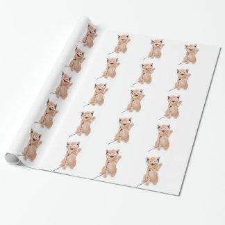 Papier Cadeau chat de sourire avec des écouteurs