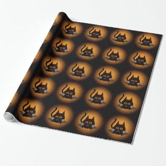 Papier Cadeau Chat de vampire de Halloween dans noir et orange