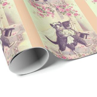 Papier Cadeau Chats de mariage avec des rayures de pêche