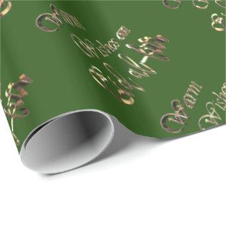 Papier Cadeau Chauffez les souhaits sur la typographie d'or vert
