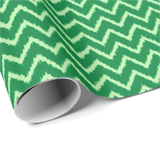 Papier Cadeau Chevrons d'Ikat - pin et vert clair