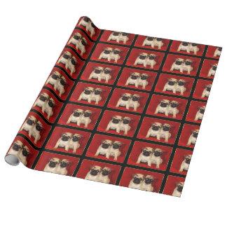 Papier Cadeau Chiots de carlin de Noël