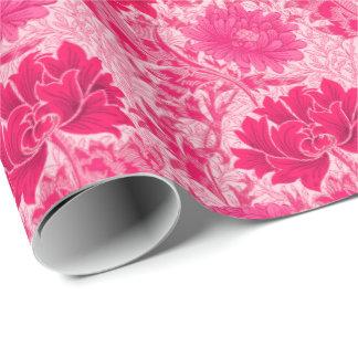 Papier Cadeau Chrysanthèmes de William Morris, rose de fuchsia