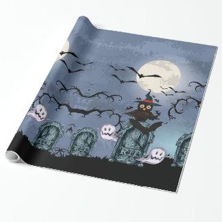 Papier Cadeau Cimetière éffrayant de Halloween avec le hibou