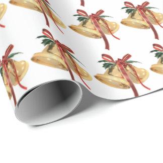 Papier Cadeau cloches de Noël d'or avec le ruban