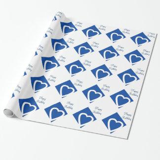 Papier Cadeau Coeurs blancs d'anniversaire, arrière - plan bleu,