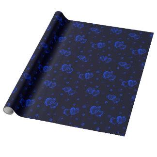 Papier Cadeau Coeurs de bulle. Bleu profond