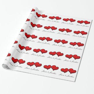 Papier Cadeau Coeurs de mariage de jeune mariée et de marié