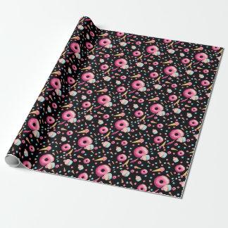 Papier Cadeau Collage noir de beignet