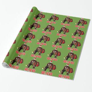 Papier Cadeau Conception drôle de Noël de Sasquatch le père noël