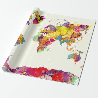Papier Cadeau couleurs de carte du monde