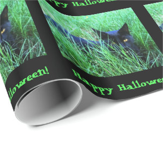 Papier Cadeau Coutume de Halloween de Chat-dans-Herbe