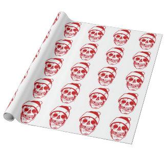 Papier Cadeau Crâne rouge de Noël en toile de luxe de casquette