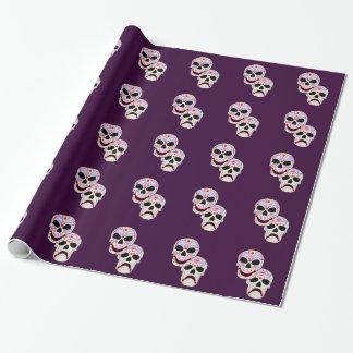 Papier Cadeau Crânes de Comédie-Tragédie de Halloween DOTD