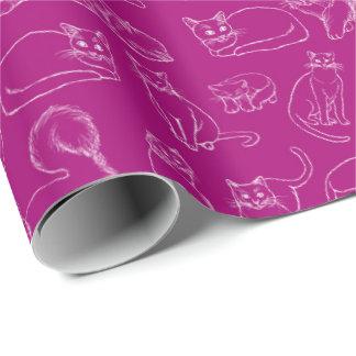 Papier Cadeau Croquis de papier d'emballage de Fuschia de chats