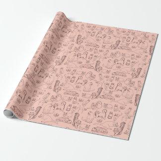 Papier Cadeau Croquis du papier d'emballage mat de rose de chats