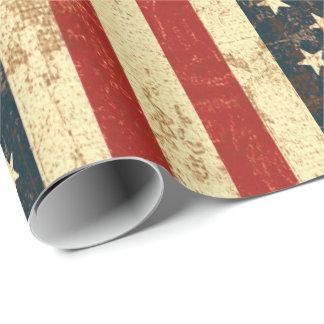 Papier Cadeau Cru de drapeau américain affligé