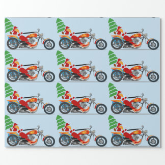 Papier Cadeau Cycliste Père Noël sur un couperet portant un