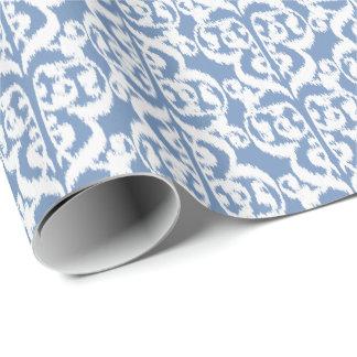 Papier Cadeau Damassé maure d'Ikat - bleu et blanc de ciel