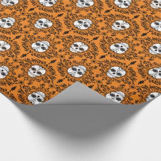 Papier Cadeau Damassé morte - papier d'emballage de crânes chics