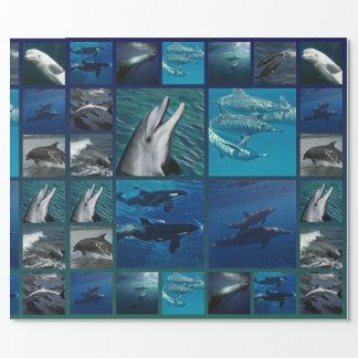 Papier Cadeau Dauphins et collage de baleines
