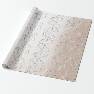 Papier Cadeau Diamants argentés floraux de laurier scintillant