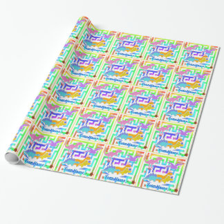 Papier Cadeau Dinos mignon dans un labyrinthe de couleur avec