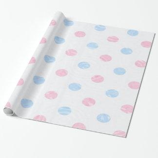 Papier Cadeau dottet mou, rose bleu, papier d'emballage