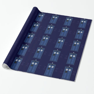 Papier Cadeau Emballage bleu-foncé de geek d'appel public de