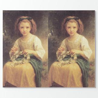 Papier Cadeau Enfant tressant une couronne par W.A. Bouguereau