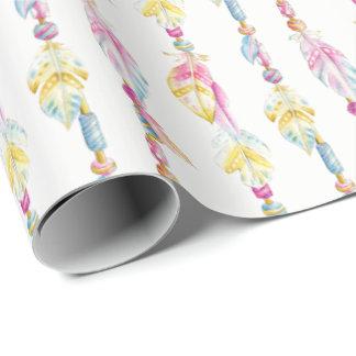 Papier Cadeau Enveloppe d'art d'aquarelle de plumes et de perles