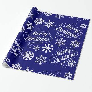 Papier Cadeau Enveloppe de cadeau bleue de Joyeux Noël de