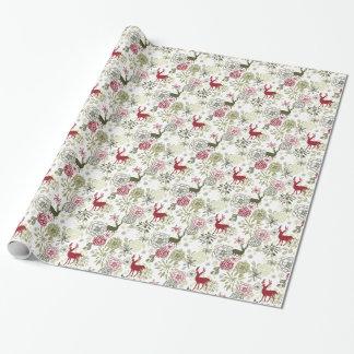 Papier Cadeau Enveloppe de cadeau florale de Noël de fleur de