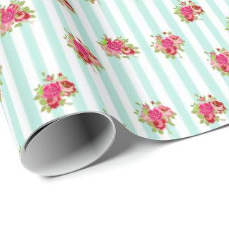 Papier Cadeau Enveloppe de cadeau minable de roses chics floraux