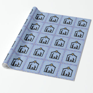 Papier Cadeau Enveloppe de cadeau sainte bleue de nativité de