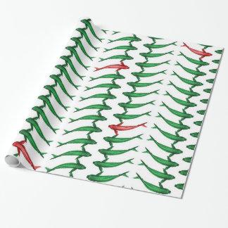 Papier Cadeau Enveloppe de cadeau verte et rouge de poissons de