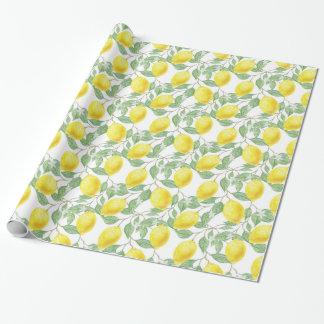 Papier Cadeau Enveloppe jaune de citron et de cadeau de vignes