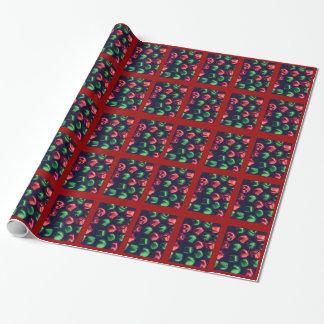 Papier Cadeau Enveloppe rouge et verte de tintement complètement