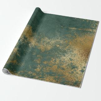 Papier Cadeau Enveloppe vert-foncé verte affligée d'or
