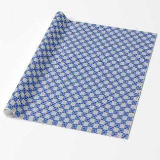 Papier Cadeau Étoile de David argentée sur le bleu/argent