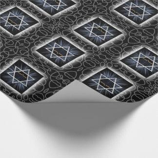 Papier Cadeau Étoile de David de Hanoukka avec Menorah et remous