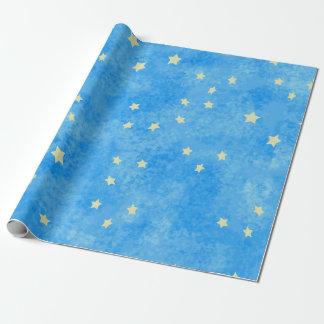 Papier Cadeau étoiles bleues épongées