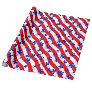Papier Cadeau Étoiles bleues patriotiques onduleuses au-dessus