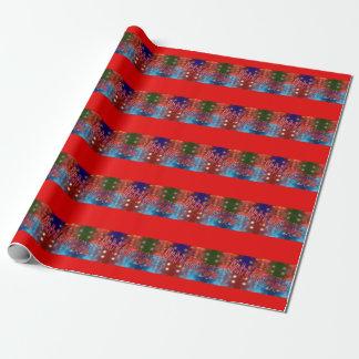 Papier Cadeau Étoiles colorées de Joyeux Noël et rayures rouges