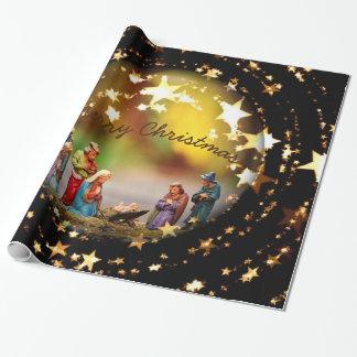 Papier Cadeau Étoiles de Noël de Vierge Marie de huche de