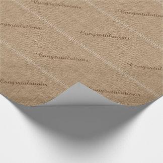 Papier Cadeau Félicitations, papier d'emballage de toile de jute