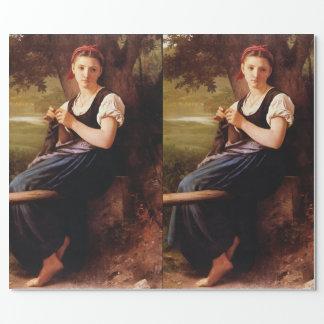Papier Cadeau Femme de tricot par William-Adolphe Bouguereau