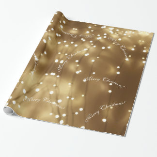 Papier Cadeau Ficelle élégante de Joyeux Noël des lumières de