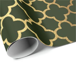 Papier Cadeau Filet d'art déco de Quatrefoil d'or vert de région